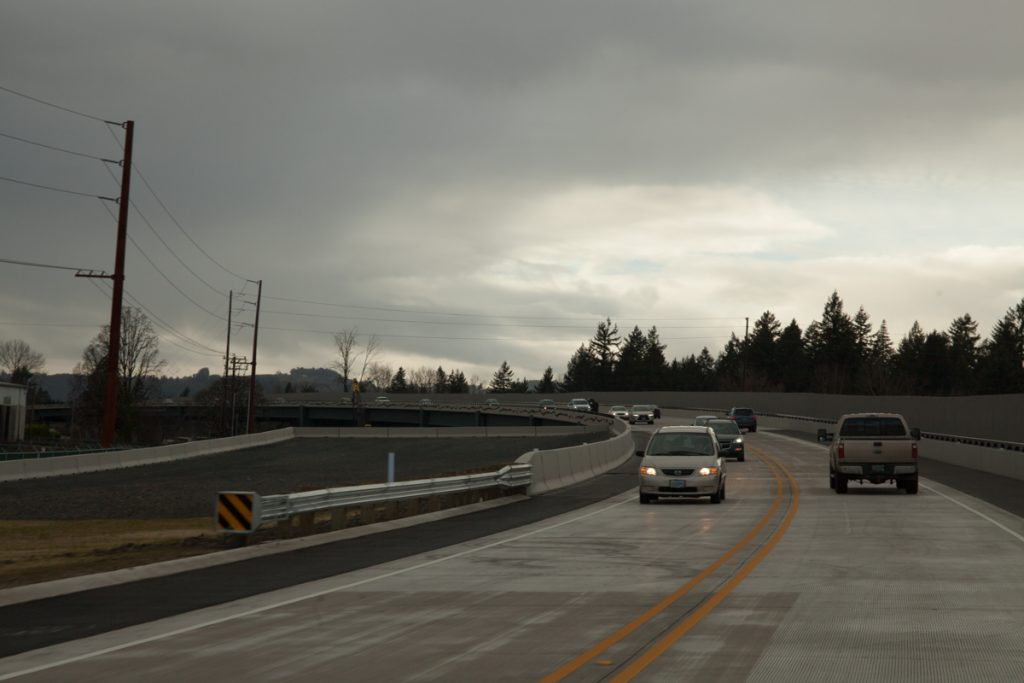 Approaching the viaduct portion of the bypass. A landing for the future eastbound lanes can be seen on the left.