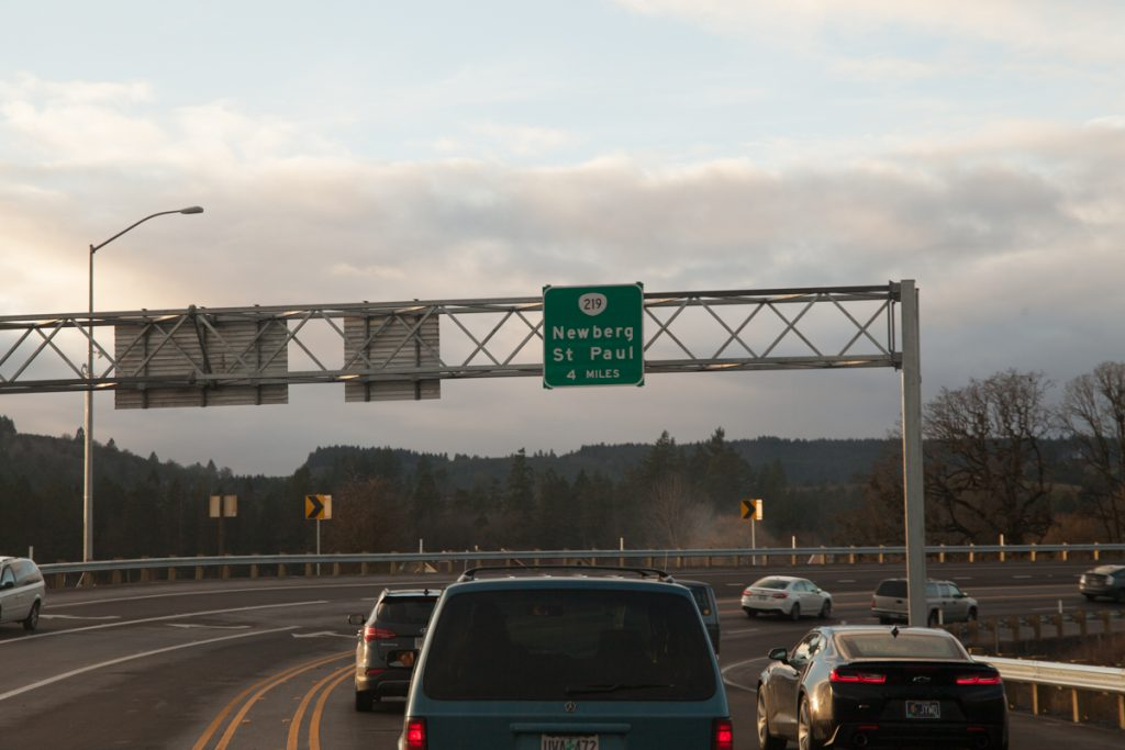 Just like with the bypass southbound, the gantry sign states that it's 4 miles to the next intersection.